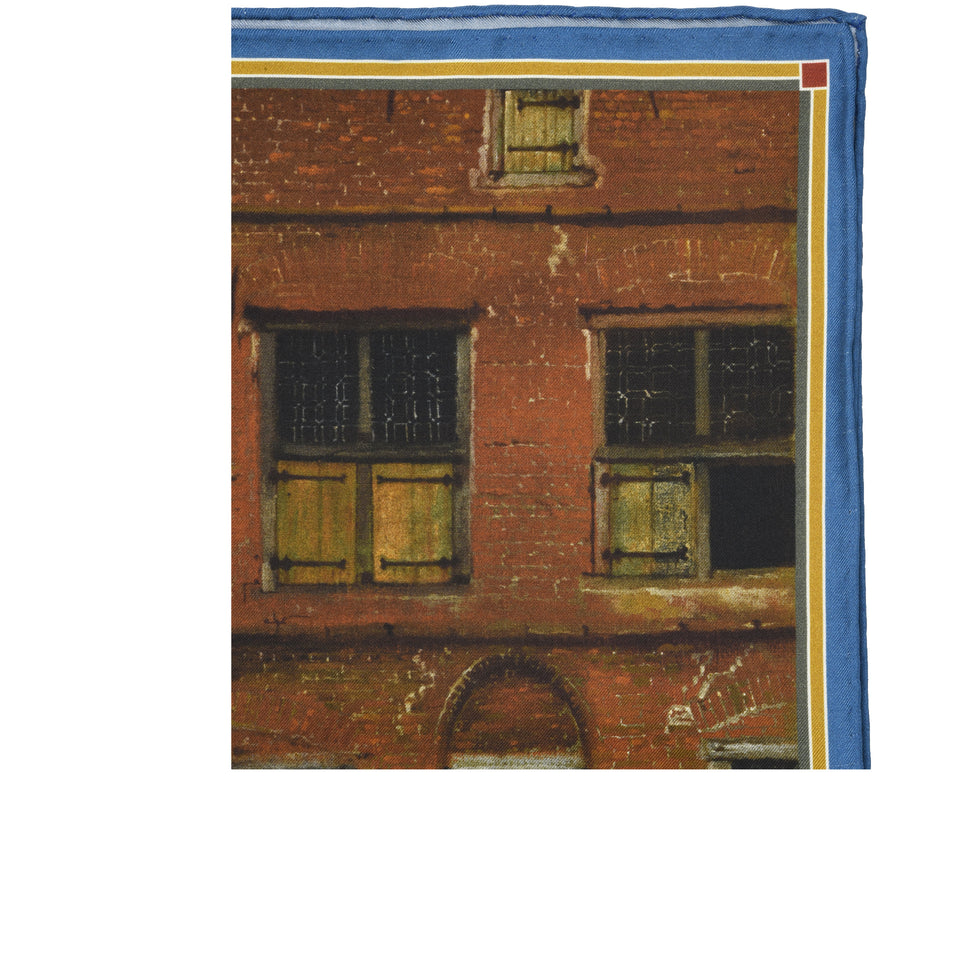 Amidé Hadelin | Johannes Vermeer pocket square 'The Little Street'_detail