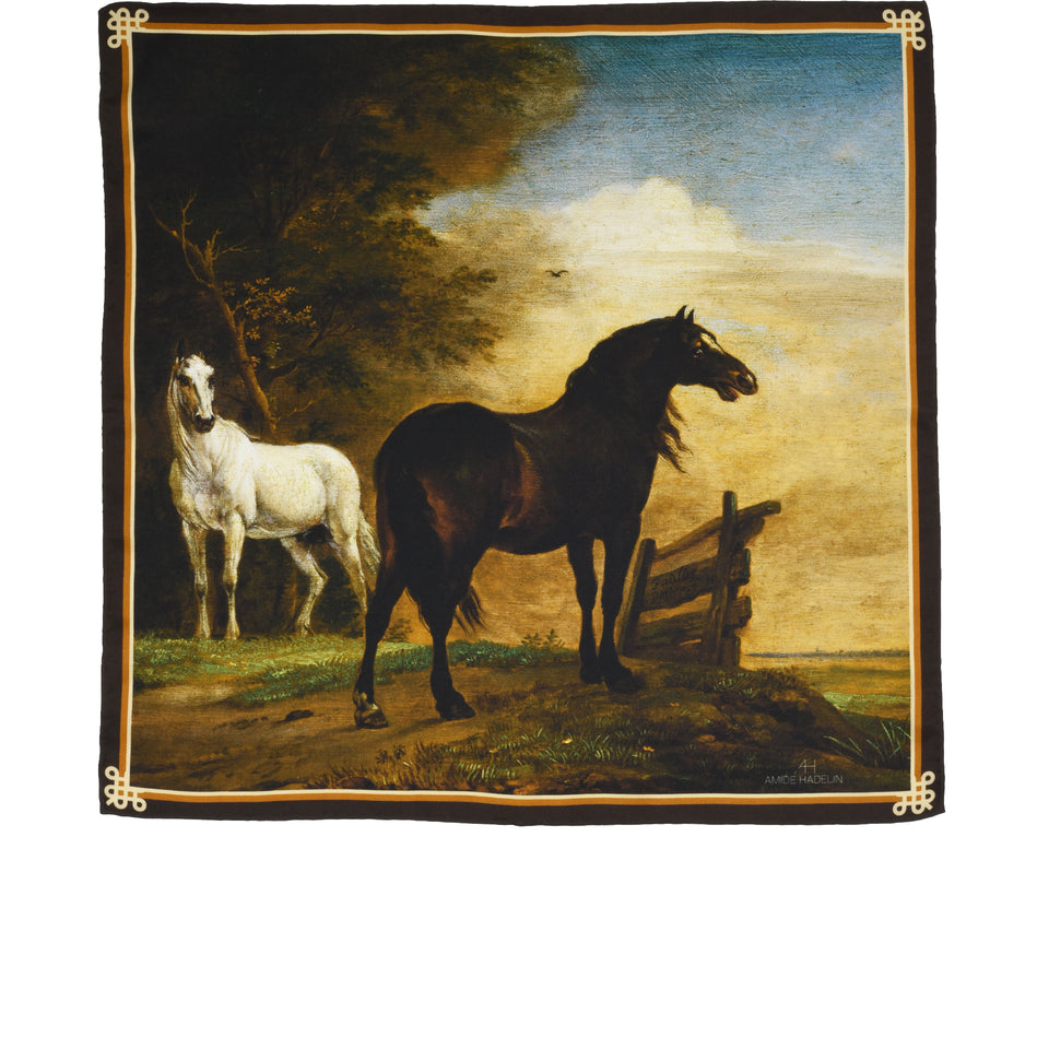 Amidé Hadelin | Paulus Potter pocket square 'Two Horses in a Meadow near a Gate'_full