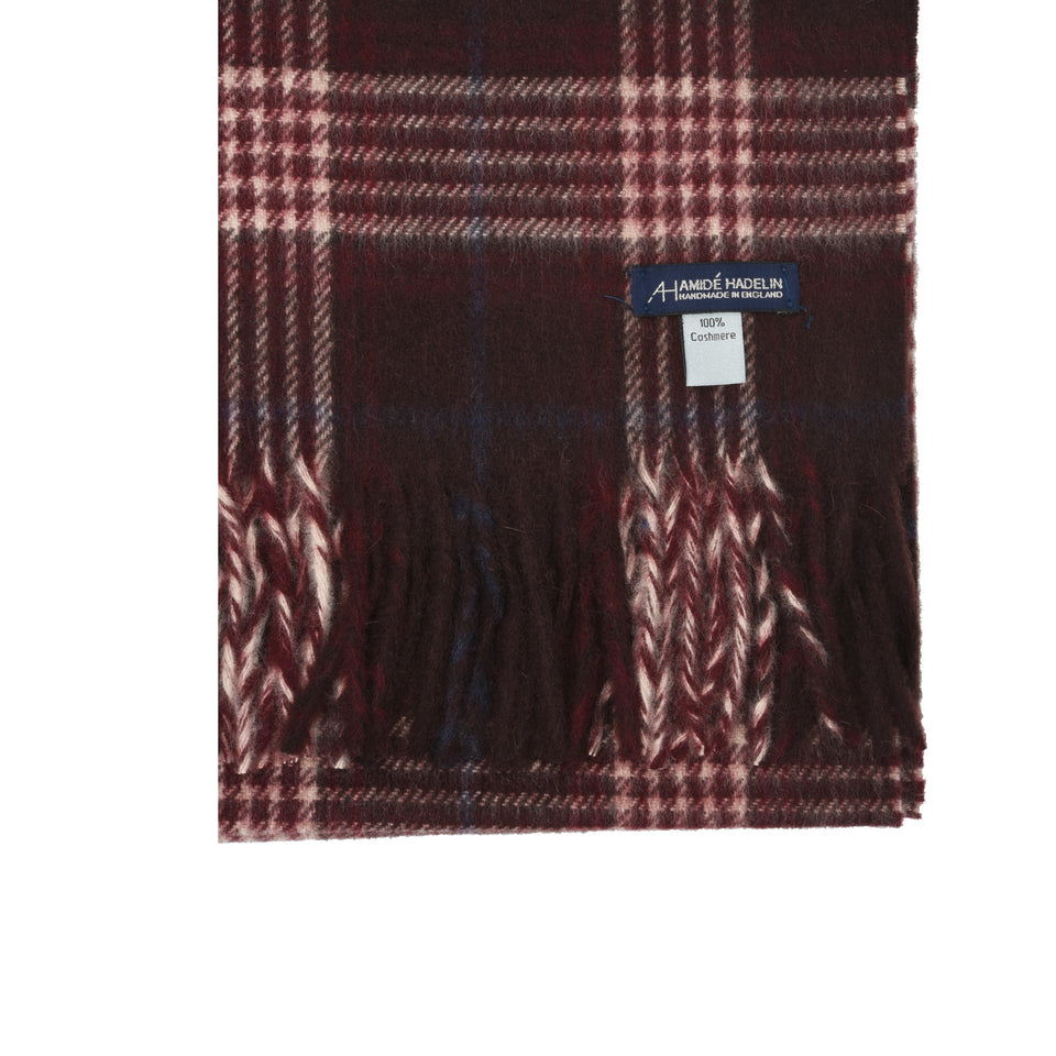 Amidé Hadelin | Cashmere house check scarf, burgundy/cream/navy_detail