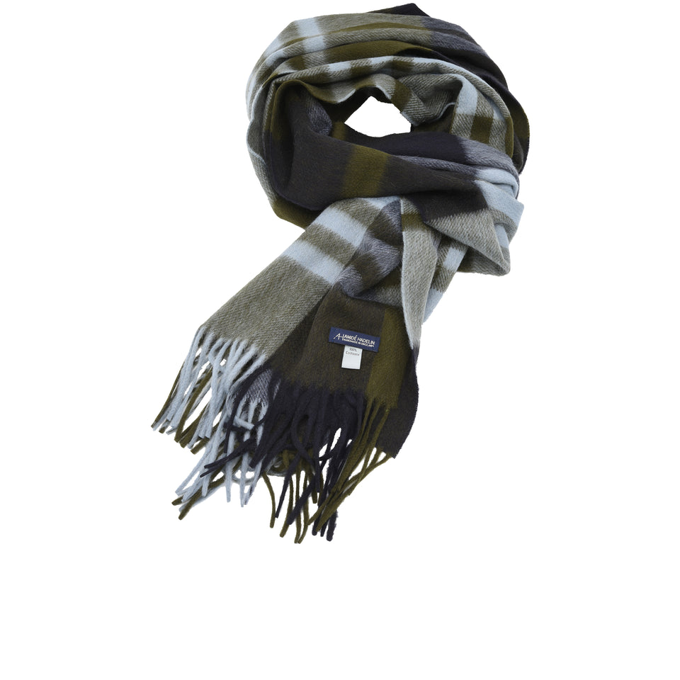 Amidé Hadelin | Cashmere plaid scarf, navy/khaki/light blue_full