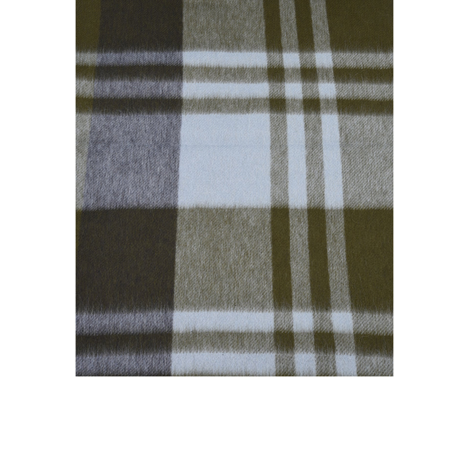 Amidé Hadelin | Cashmere plaid scarf, navy/khaki/light blue_pattern