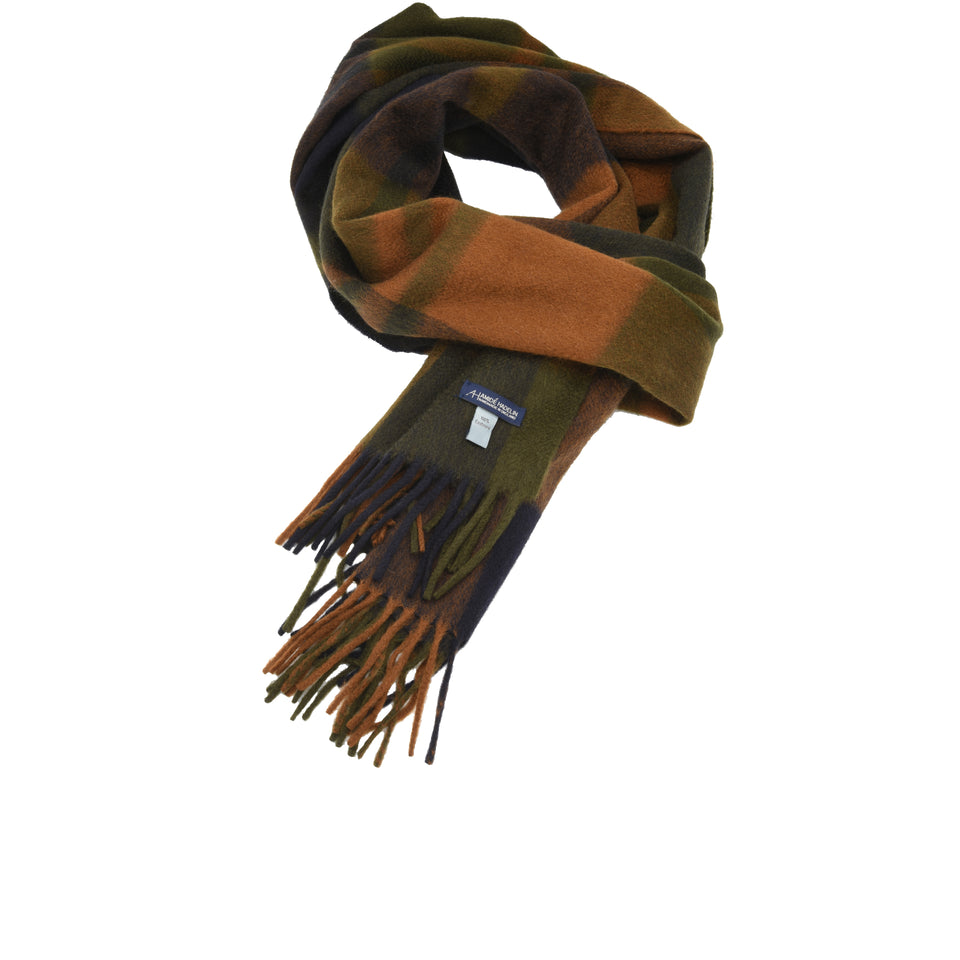 Amidé Hadelin | Cashmere plaid scarf, navy/khaki/tobacco_full