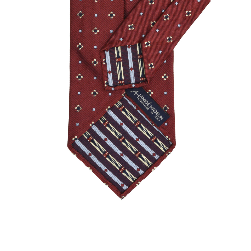 Amidé Hadelin | Limited Edition jacquard silk tie - rusty red_back