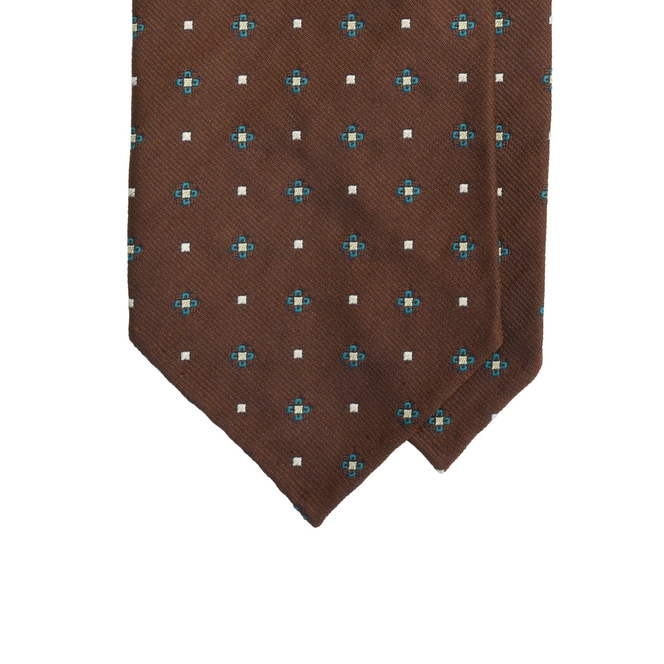 Amidé Hadelin | Limited Edition jacquard silk tie - coffee brown_tip