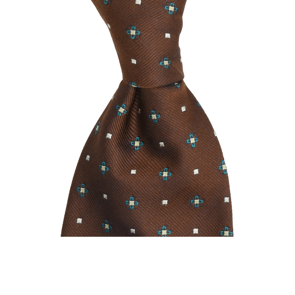 Amidé Hadelin | Limited Edition jacquard silk tie - coffee brown_knot