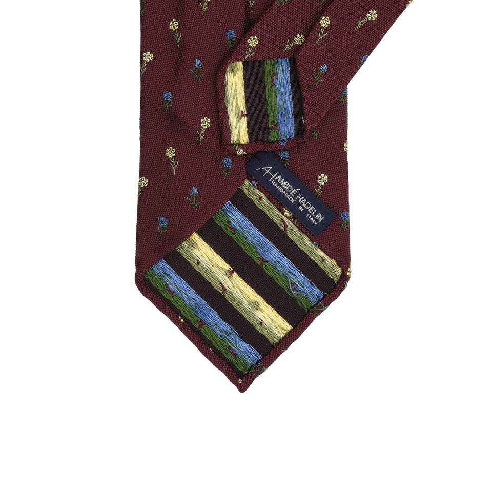 Amidé Hadelin | Limited Edition jacquard silk tie - claret_back