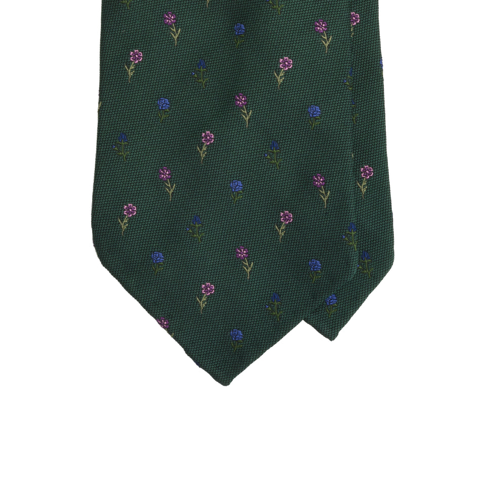 Amidé Hadelin | Limited Edition jacquard silk tie - bottle green_tip