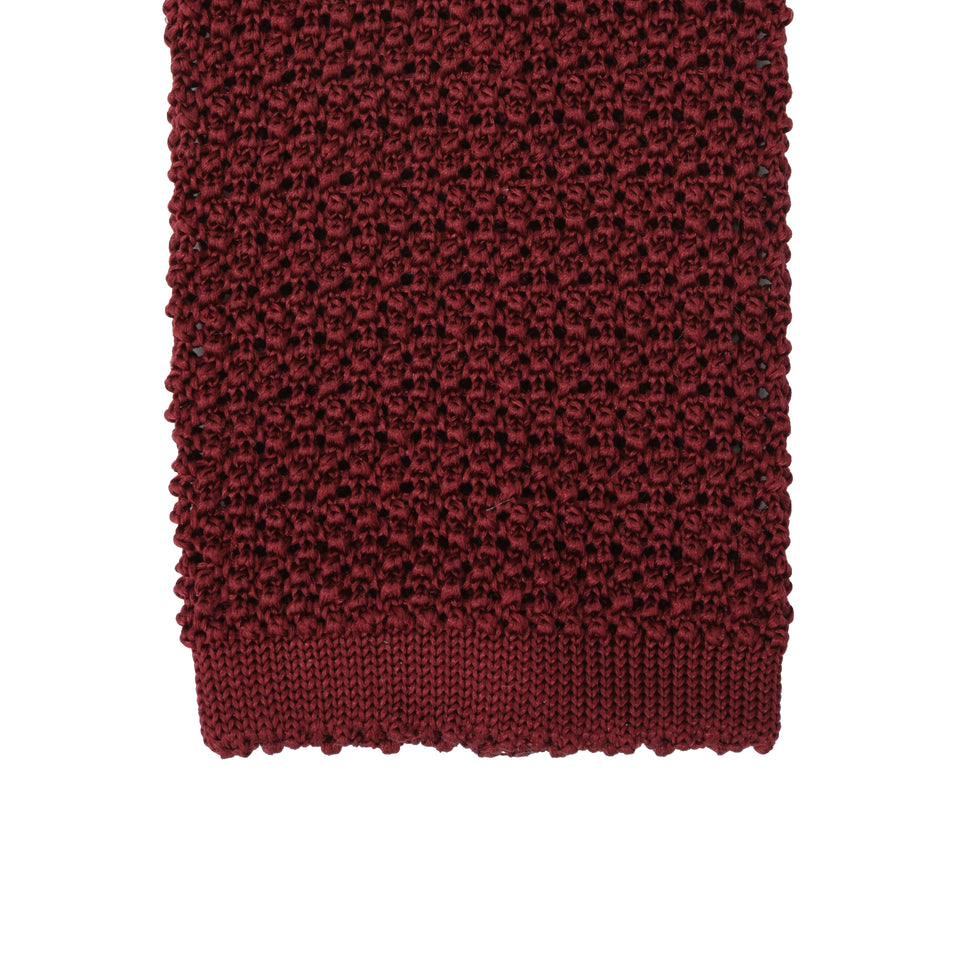 Orange Label | knit silk tie, burgundy_tip