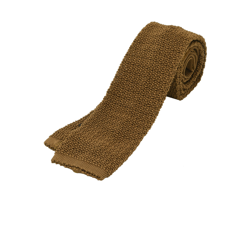 Orange Label | knit silk tie, light brown_full
