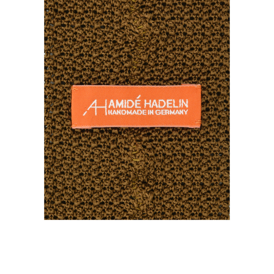 Orange Label | knit silk tie, light brown_back