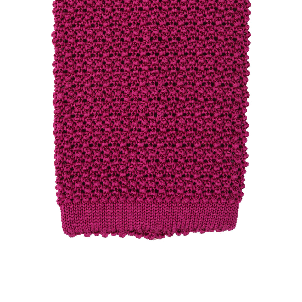 Orange Label | knit silk tie, fuchsia_tip
