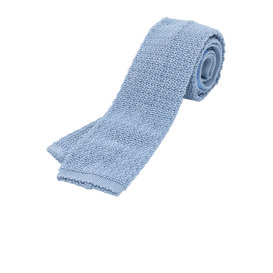 Orange Label | knit silk tie, light blue_full