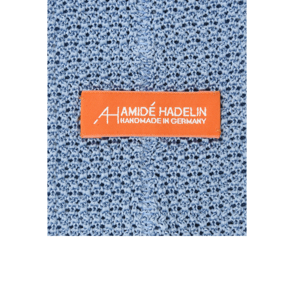 Orange Label | knit silk tie, light blue_back
