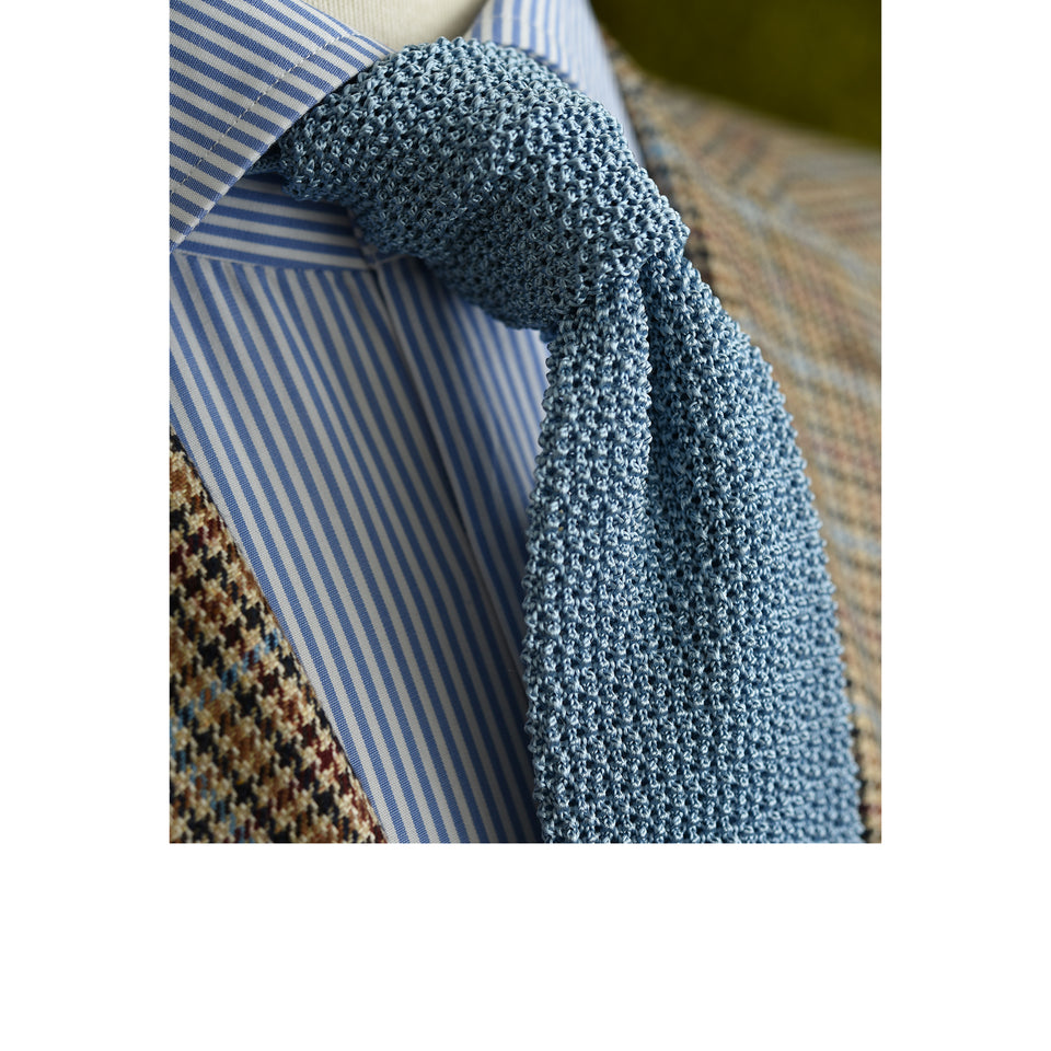 Orange Label | knit silk tie, light blue_styled