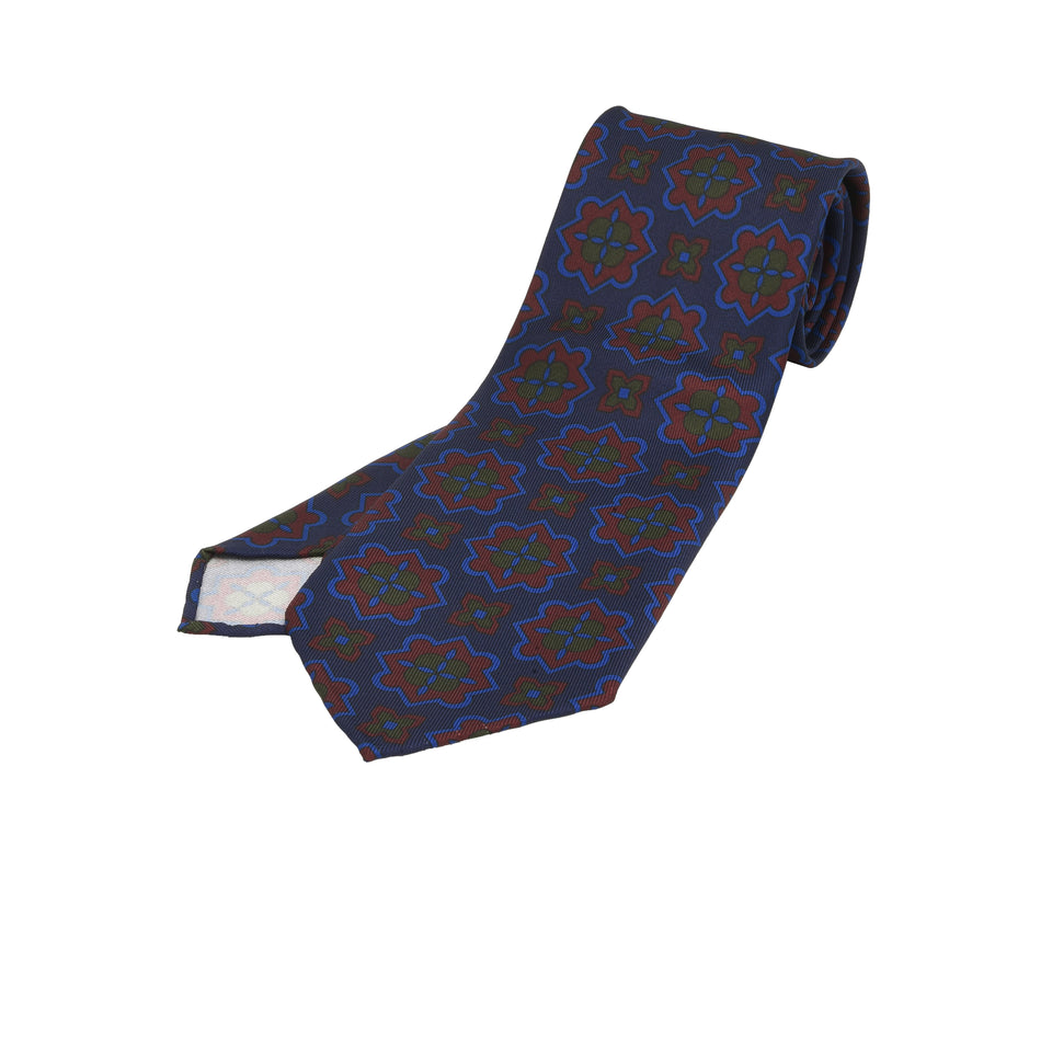 Orange Label | 36oz printed silk tie, navy/burgundy_full