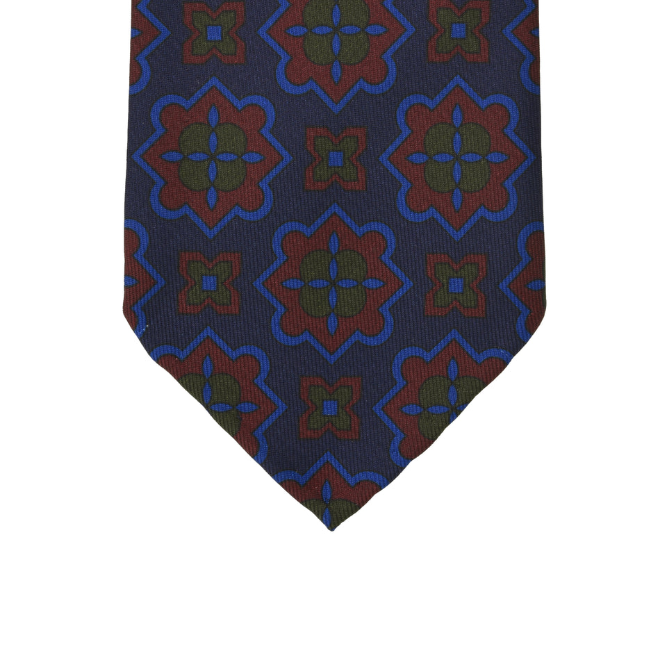 Orange Label | 36oz printed silk tie, navy/burgundy_tip