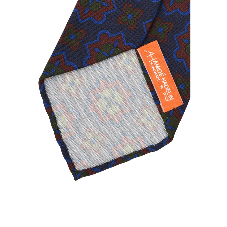 Orange Label | 36oz printed silk tie, navy/burgundy_back
