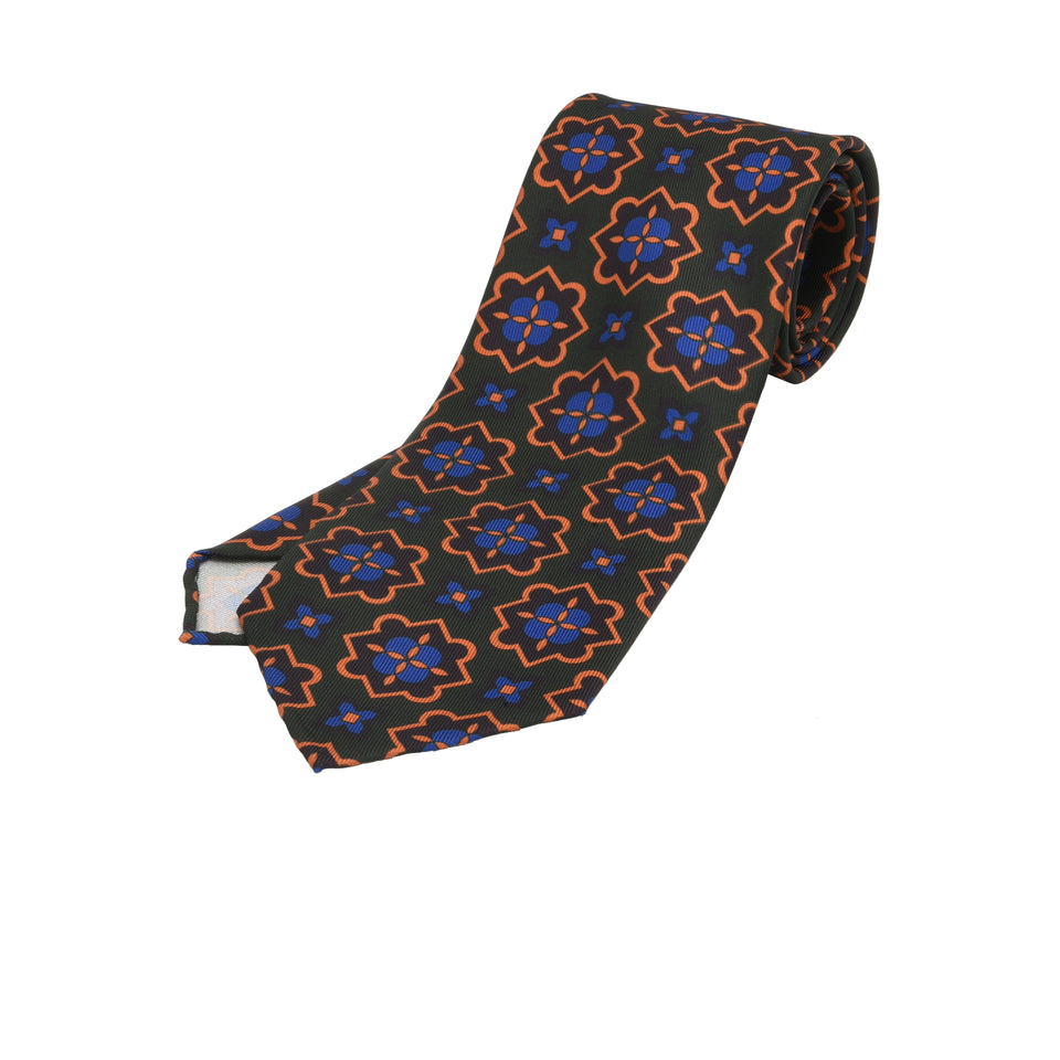 Orange Label | 36oz printed silk tie, green/purple_full