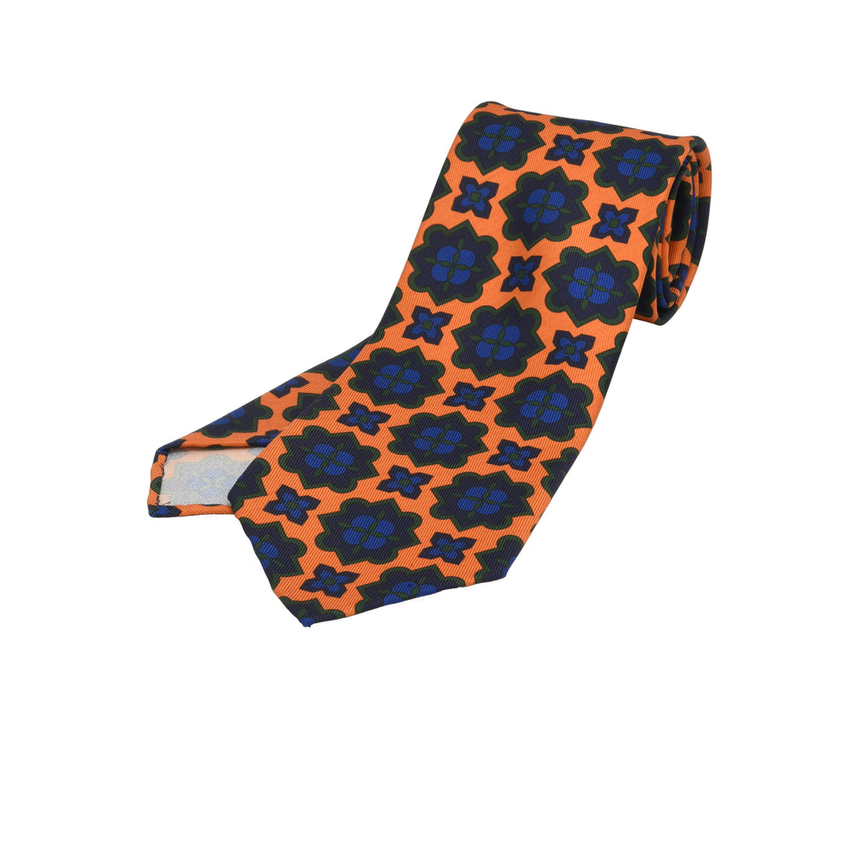 Orange Label | 36oz printed silk tie, orange/navy_full