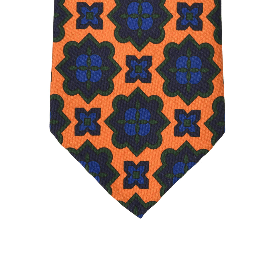 Orange Label | 36oz printed silk tie, orange/navy_tip