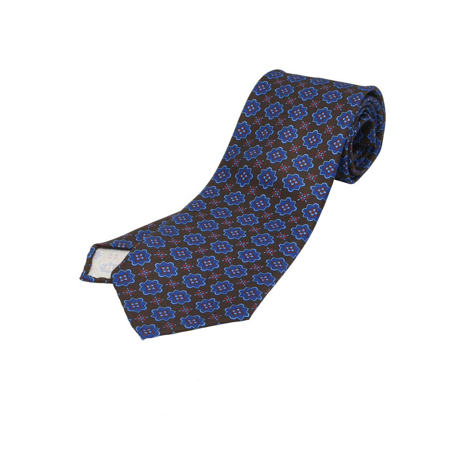 Orange Label | 36oz printed silk tie, dark brown_full