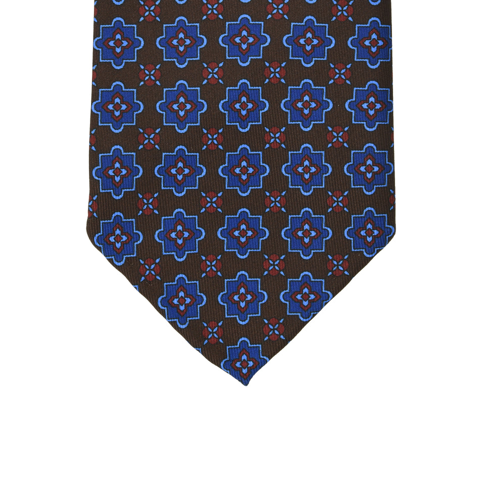 Orange Label | 36oz printed silk tie, dark brown_tip