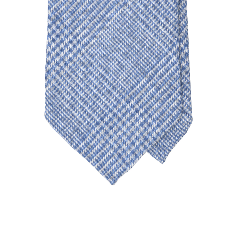 Amidé Hadelin | Irish linen glen check tie, light blue_tip