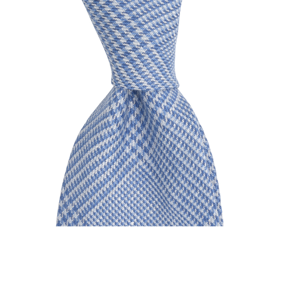 Amidé Hadelin | Irish linen glen check tie, light blue_knot