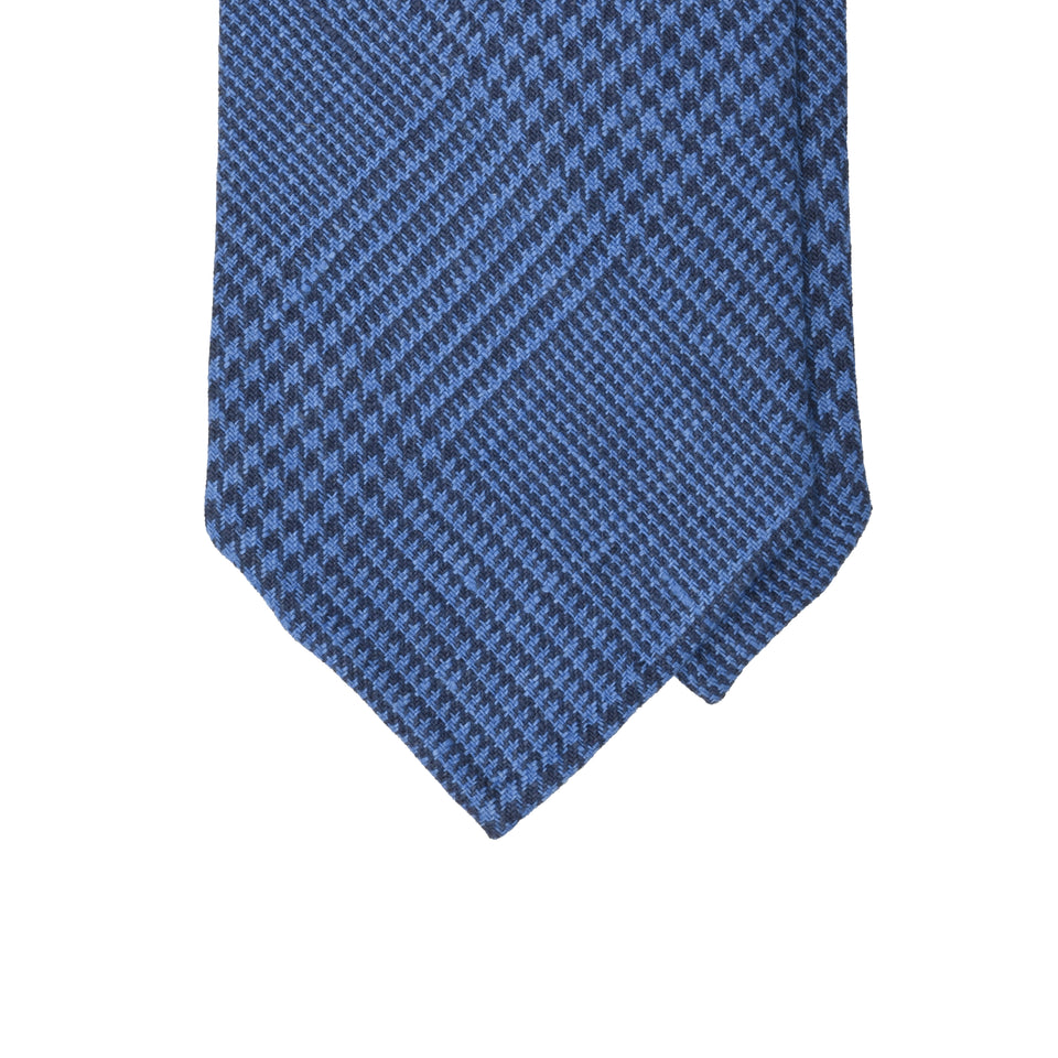 Amidé Hadelin | Irish linen glen check tie, mid blue_tip