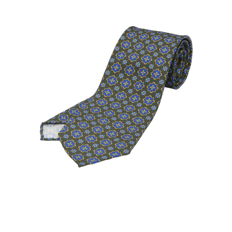 Orange Label | 36oz printed silk tie, olive_full