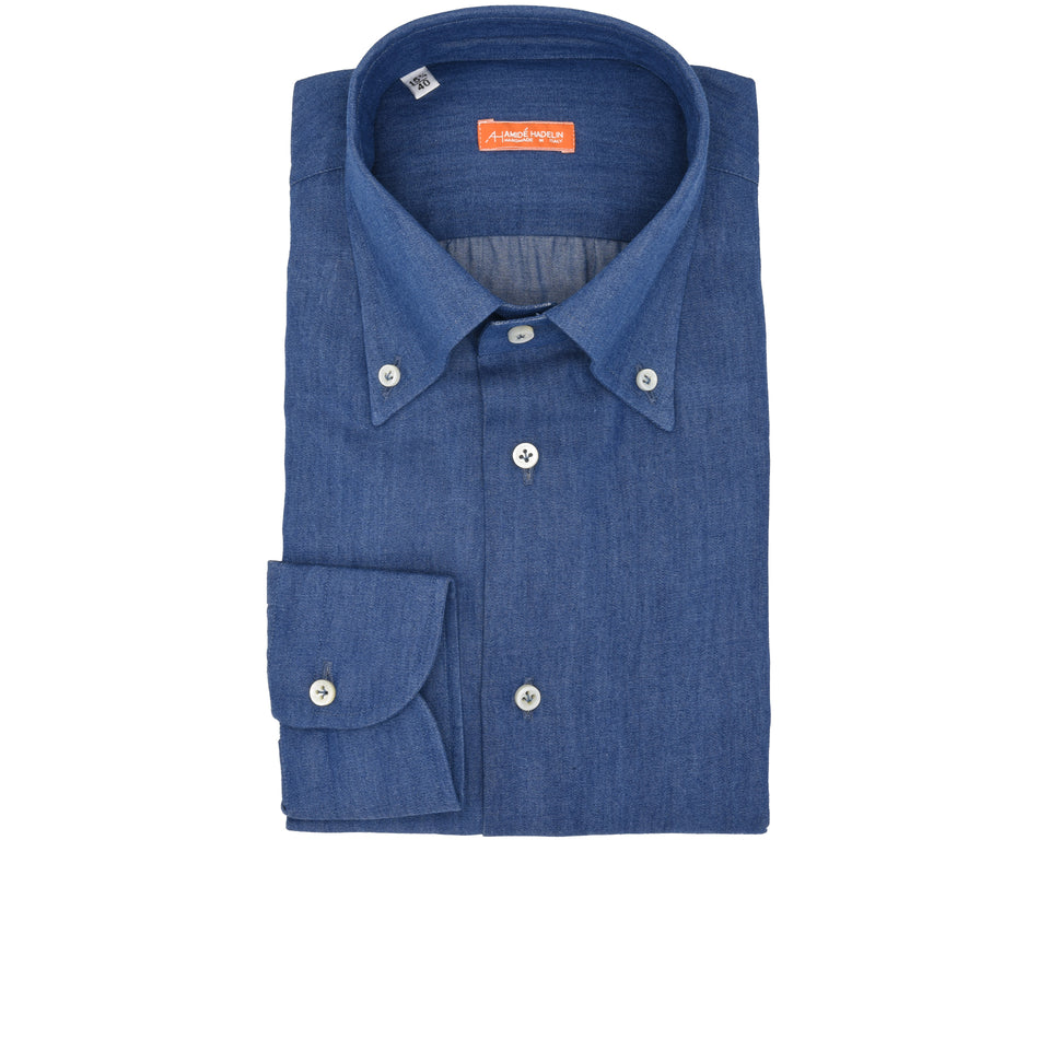 Orange Label button down denim shirt - mid blue_front