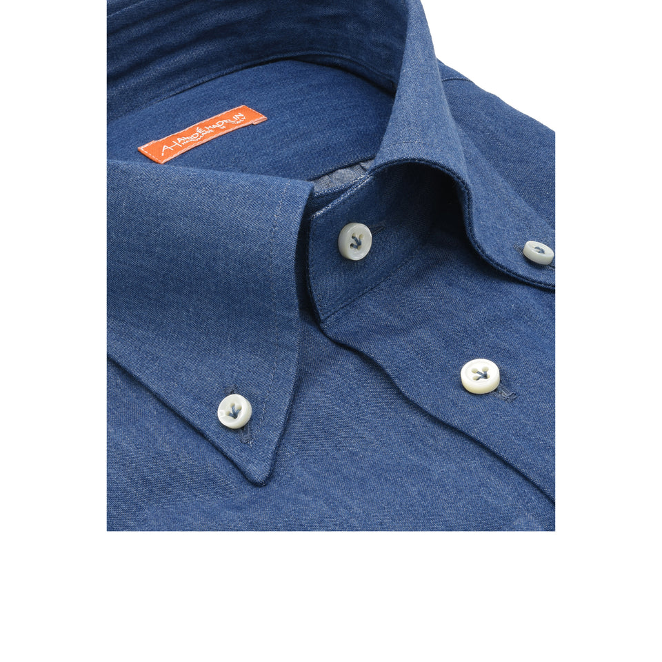 Orange Label button down denim shirt - mid blue_collar close