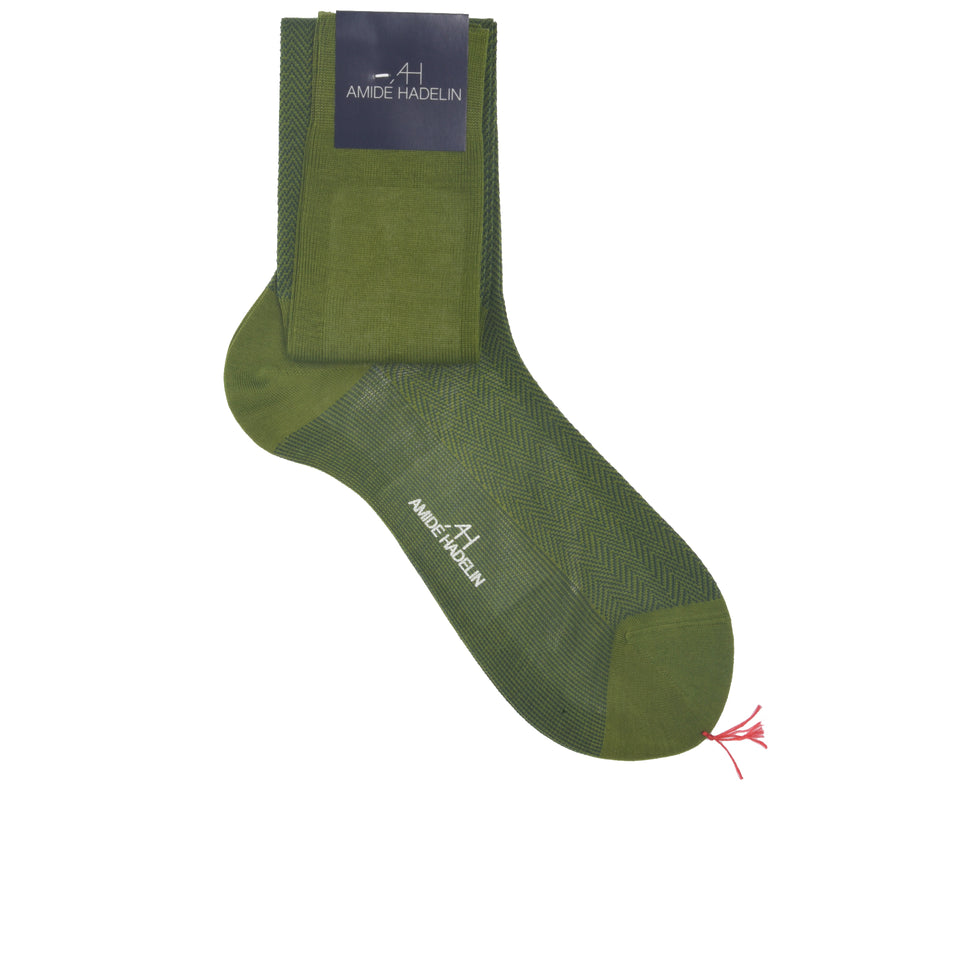 Knee high herringbone cotton socks - moss/forest_full