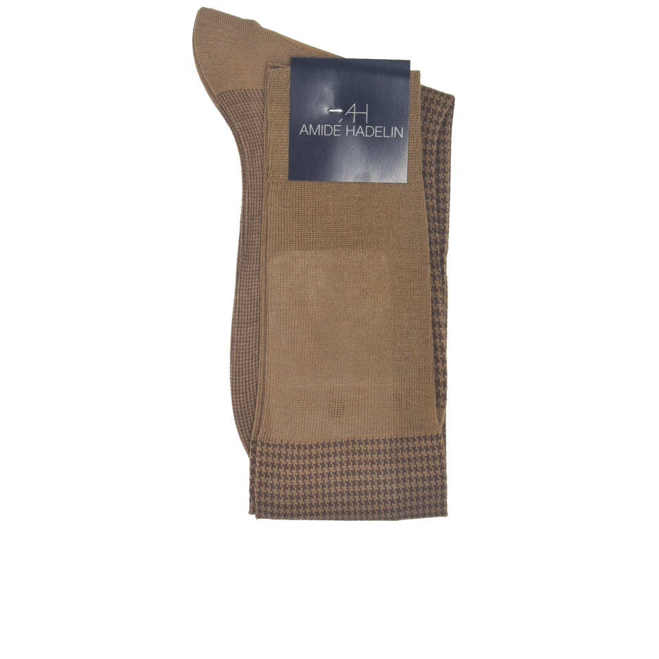 Amidé Hadelin | Knee high herringbone cotton socks - nutmeg/brown_fold
