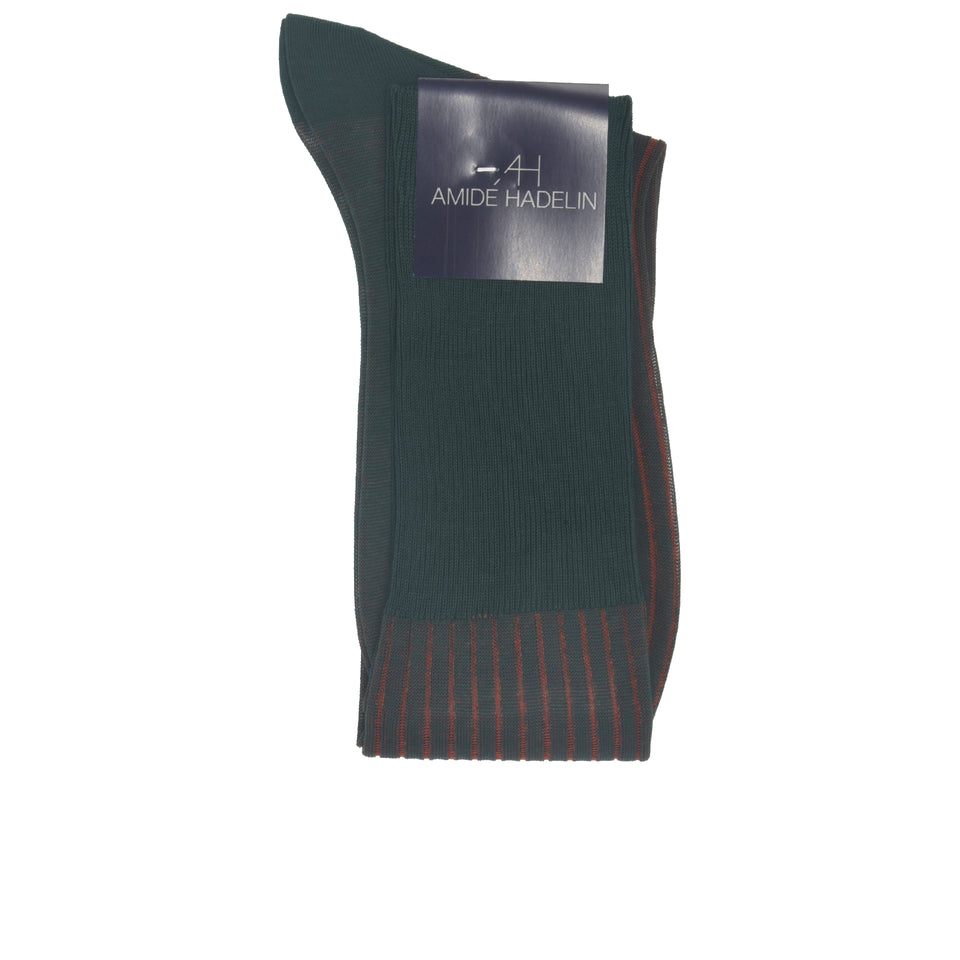 Amidé Hadelin | Knee high shadow stripe cotton socks - dark green/rust_fold