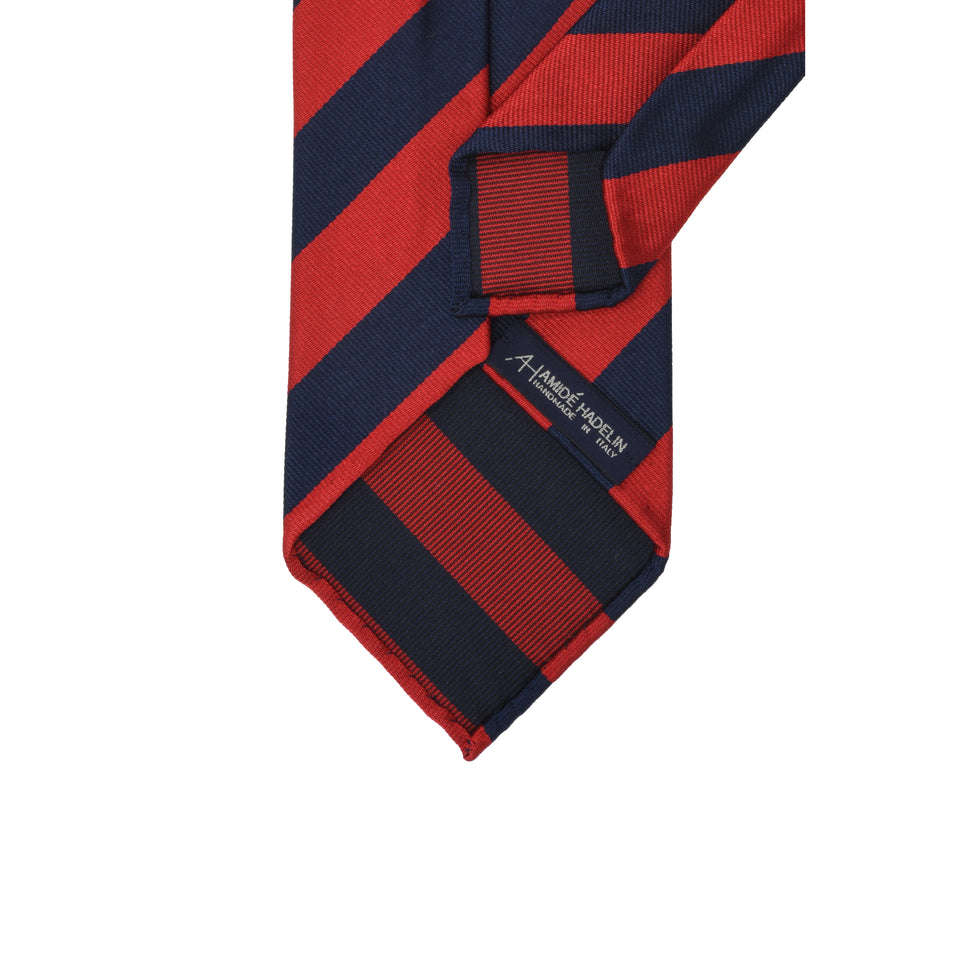 Amidé Hadelin | Regimental silk repp tie - navy/red_back