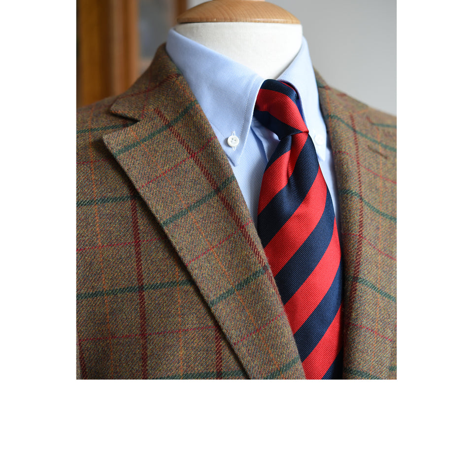 Amidé Hadelin | Regimental silk repp tie - navy/red_styled