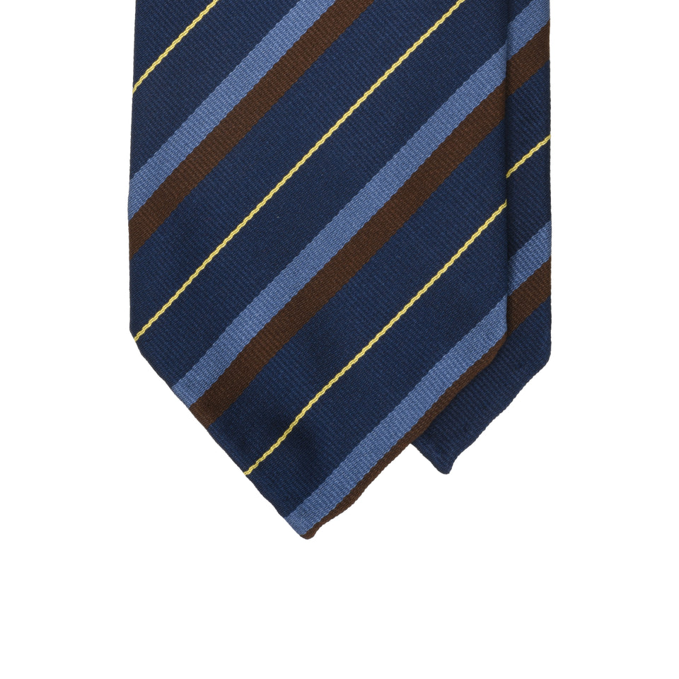 Amidé Hadelin | Regimental silk repp tie - navy/blue/brown/yellow_tip