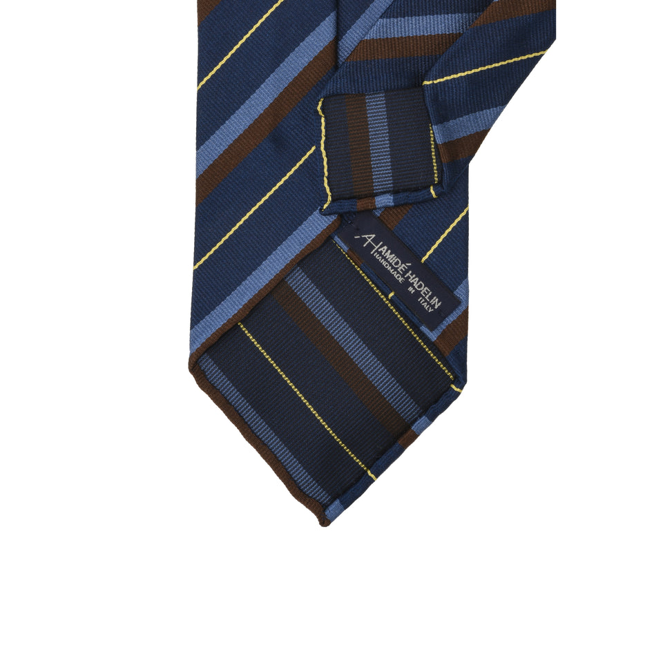Amidé Hadelin | Regimental silk repp tie - navy/blue/brown/yellow_back