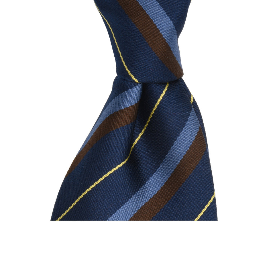 Amidé Hadelin | Regimental silk repp tie - navy/blue/brown/yellow_knot