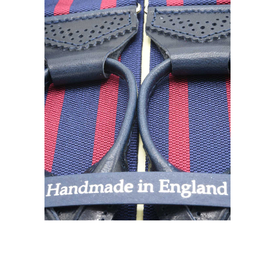 Amidé Hadelin barathea striped suspenders, navy/bordo