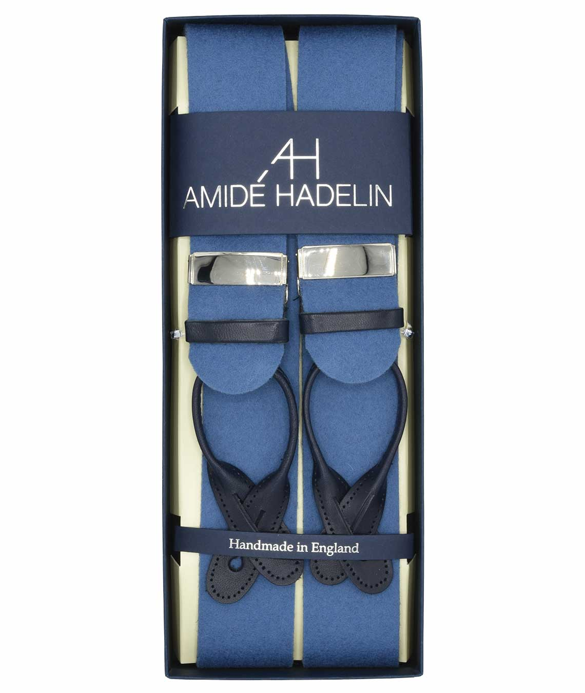 Amidé Hadelin boxcloth suspenders, light blue