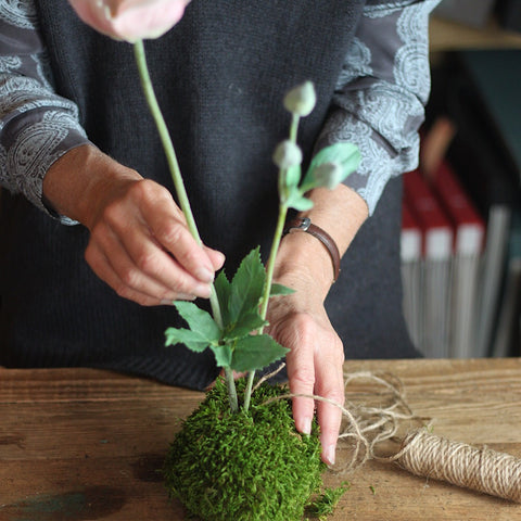 Flower being added to moss ball kokedama