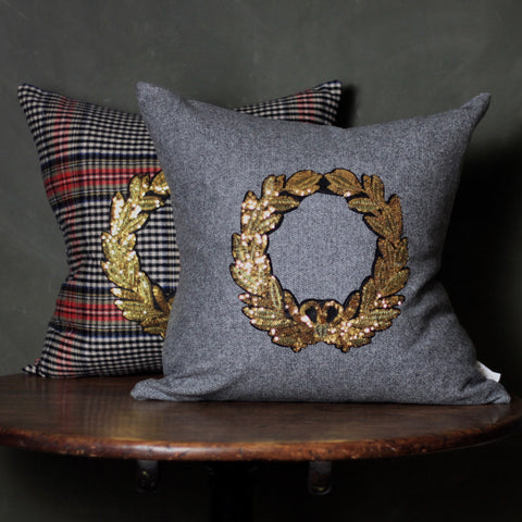 Tartan Cushion with embroidery, made in scotland