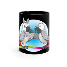 "Load image into Gallery viewer, ""Beaks Up!"" Memo to Parker and Pepper 11 Ounce Black Mug"