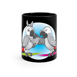 """Beaks Up!"" Memo to Parker and Pepper 11 Ounce Black Mug"