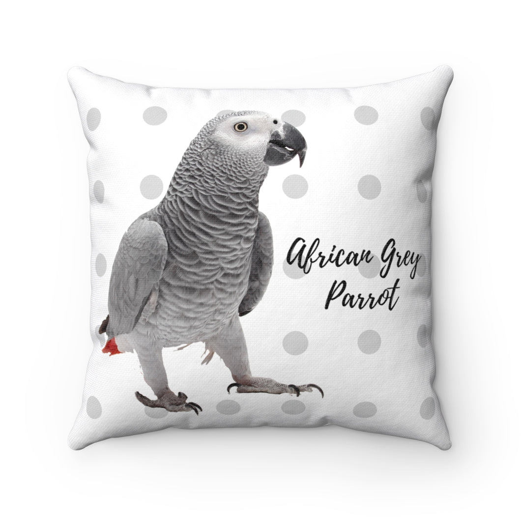 African Grey Polyester Square Pillow