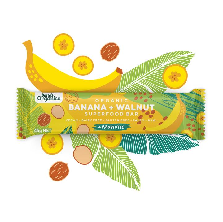 Bondi Organics- Banana + Walnut Superfood 12x45g Bar