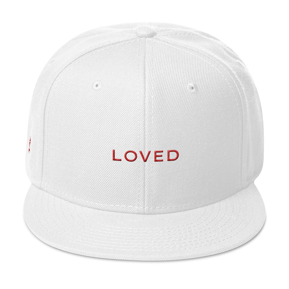 Loved Snapback Cap (Grey under visor with Red lettering)