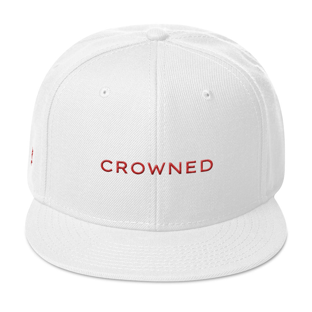 Crowned Snapback Cap (Grey under visor with Red lettering)